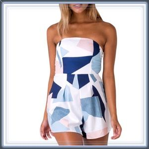 Pants - 🆕 Abstract Art Strapless Romper