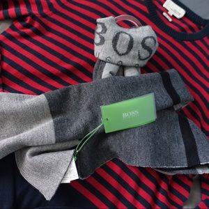 Hugo Boss Other - Hugo Boss Colorblocked Wool Reversible Logo Scarf