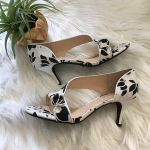 j. renee Shoes - J. Renee Floral Black + White Heels
