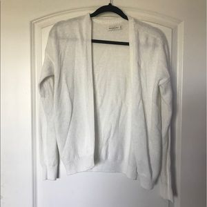 abercrombie & fitch white knit cardigan