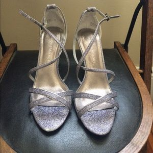 """Adrienne Maloof Shoes - Silvery metallic sandals 2.5"""" height"""