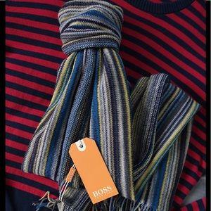 Hugo Boss Other - Hugo Boss Men Striped Virgin Wool Fringed Scarf
