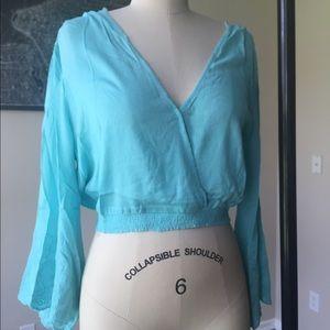 Fashion Nova Tops - Deep V bell sleeve crop top