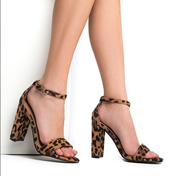 ce50d8524 Shoes | Leopard Print Ankle Strap Chunky Heels | Poshmark