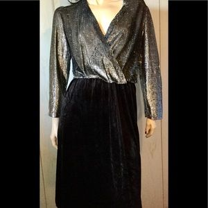 VTG 70s Silver Deep V Glitter Velvet Party Dress