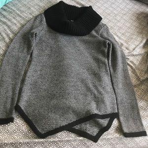 Cowl neck asymmetrical sweater