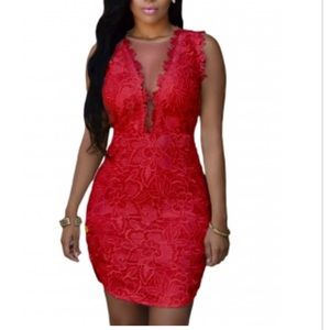 Red lace mesh cocktail dress S/M nwot
