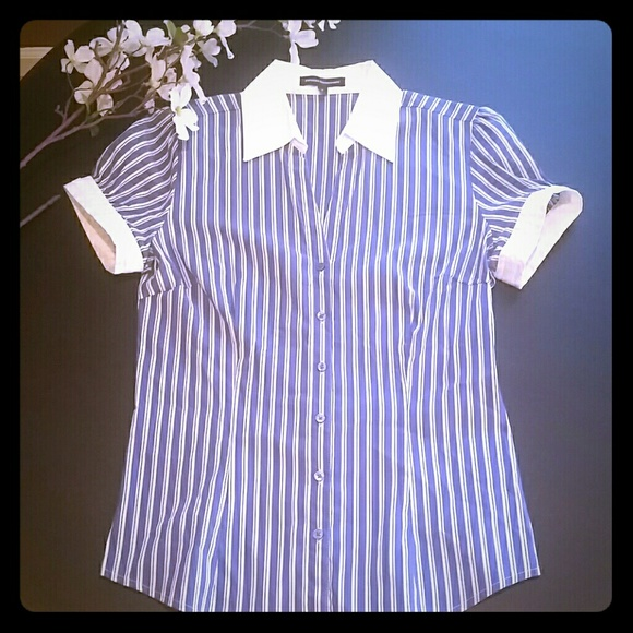 Express Express Blue And White Striped Button Up Shirt