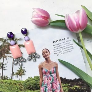 "Erica Rose Jewelry - ""Marta"" Earrings || Light Pink & Crystal Statement"
