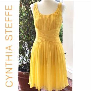 Cynthia Steffe Yellow Silk Ruched Dress Sz. 6