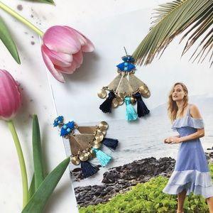"Erica Rose Jewelry - ""Sofía"" Earrings || Blue Tassel Statement"