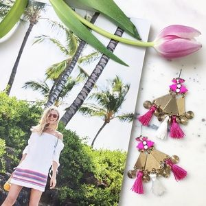 "Erica Rose Jewelry - ""Sofía"" Earrings || Hot Pink Tassel Statement"