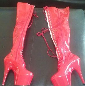 b838478e3f2 Adore 3023 patent thigh high boots