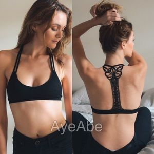 racerback butterfly back appliqué bralette tattoo