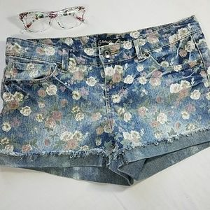 Celebrity Pink Pants - Celebrity Pink floral pattern jean shorts