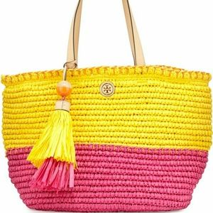 Tory Burch Handbags - NWT tory burch colorblock straw beach tote