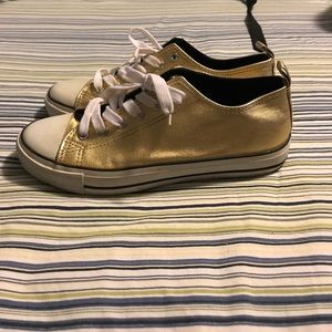 Urban Vibe Shoes - Gold Faux Leather Fashion Sneakers Size 8