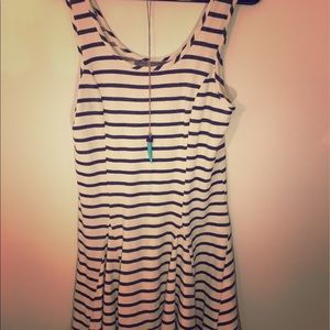 Dresses & Skirts - White black striped fit and flare dress! New!!