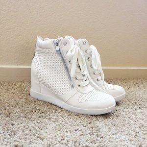 White Sneaker Wedges from Shoedazzle