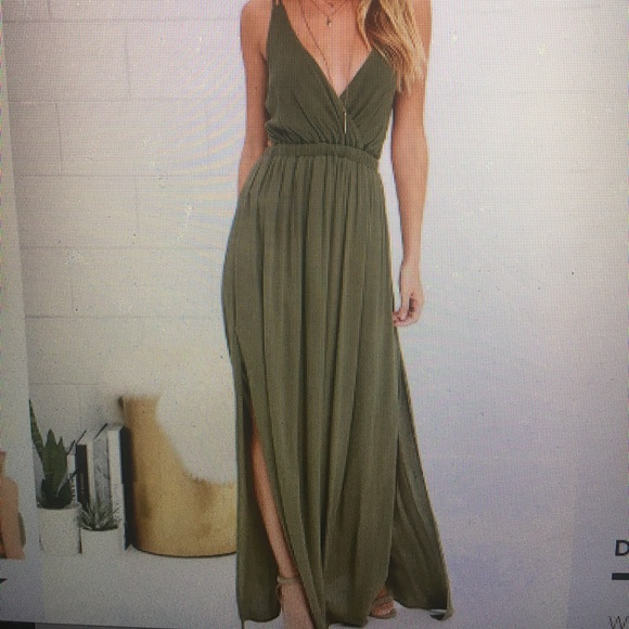 1a99492cf74 Lulu s lost in paradise olive green maxi dress