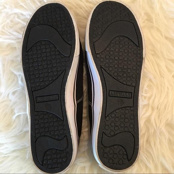 airwalk airwalk black and white laceless sneakers from