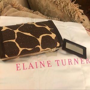 Elaine Turner Giraffe print clutch
