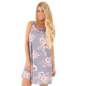 LILAC FLORAL SHORT TANK DRESS WITH CRISS CROSS
