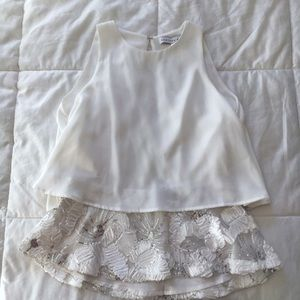 Endless Rose Tops - Gorgeous white open back peplum tank top sequins S
