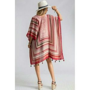 Sweaters - Aztec scarf print kimono shrug with tassels RED