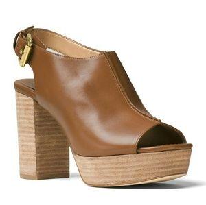 New! MICHAEL KORS Brown Leather Platform Sandals
