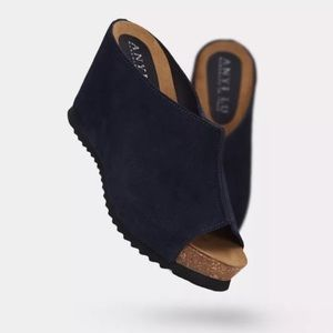 Anyi Lu Shoes - Navy suede slip on wedge sz 37 anyi lu