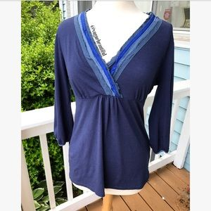 Boden Tops - Boden Tiered Blue V-Neck 3/4 Sleeve Top
