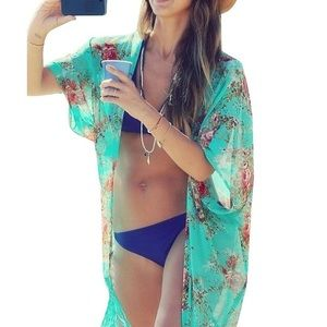 Boutique Other - 💕Turquoise Floral Patterned Fringed Kimono💕