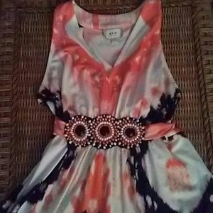 ECI Orange Black White Sleeveless Beaded Dress L