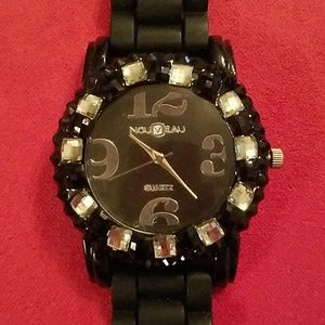 Jewelry - Black Bling Silicone Watch