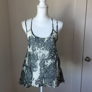 JH Tops - Cute Flowy Too w Paisely Print and Dual Straps