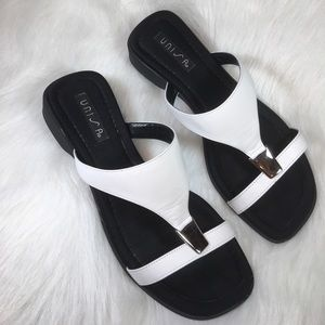 """Unisa Shoes - Unisa 1 1/4"""" Wedge White w Black Sole from Spain"""