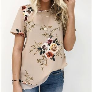 Taupe Floral Short Sleeves Top Blouse