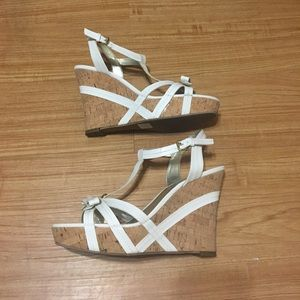 Guess Shoes - GUESS White and Cork Platform Wedges, Size: 11M