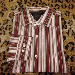 Nat Nast Red, White & Tan Stripe Shirt L