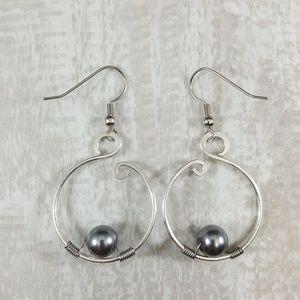 """""""Grey Skies"""" Grey Pearl Silver Hoop Earrings"""