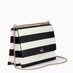 kate spade Handbags - Kate Spade striped leather clutch with gold chain
