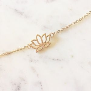 Last One! Dainty Gold Lotus Flower Necklace