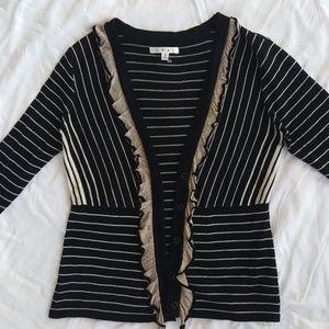 CAbi Striped Ruffle Cardigan Sweater