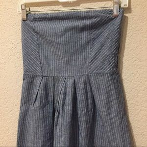 Everly Tops - Everly chambray pinstriped halter top dress