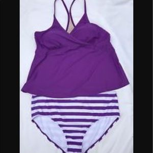 NWOT Plus Size Purple and White Tankini