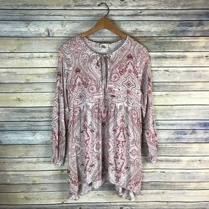 Lilka Anthropologie Pink Paisley Tie Neck Tunic