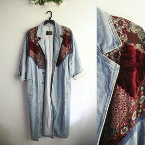 Vintage Jackets & Blazers - Vintage Denim Patched Trench Coat