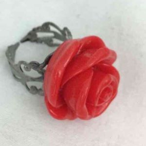 Handmade Rose Ring. Adjustable! Vintage Inspired