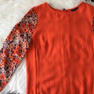 NWOT Club Monaco Orange Floral Sleeve Dress